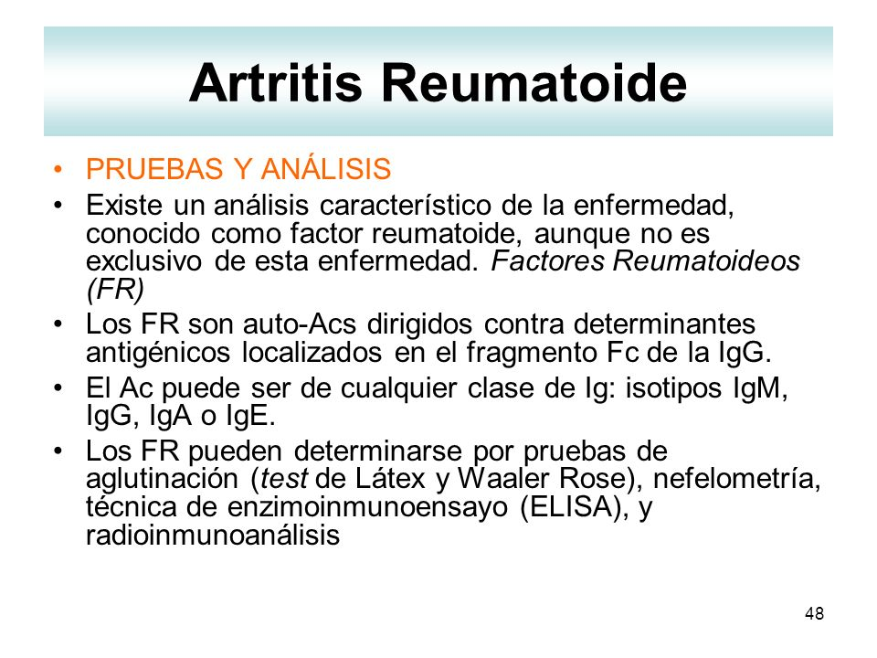 Artritis Reumatoide PRUEBAS Y ANÁLISIS