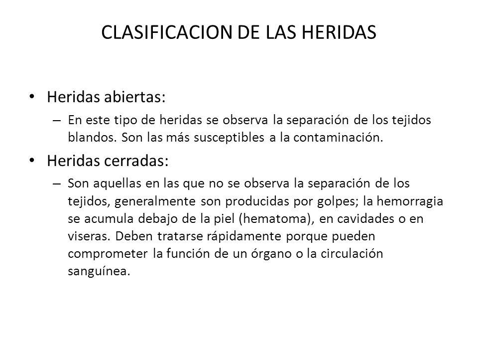CLASIFICACION DE LAS HERIDAS