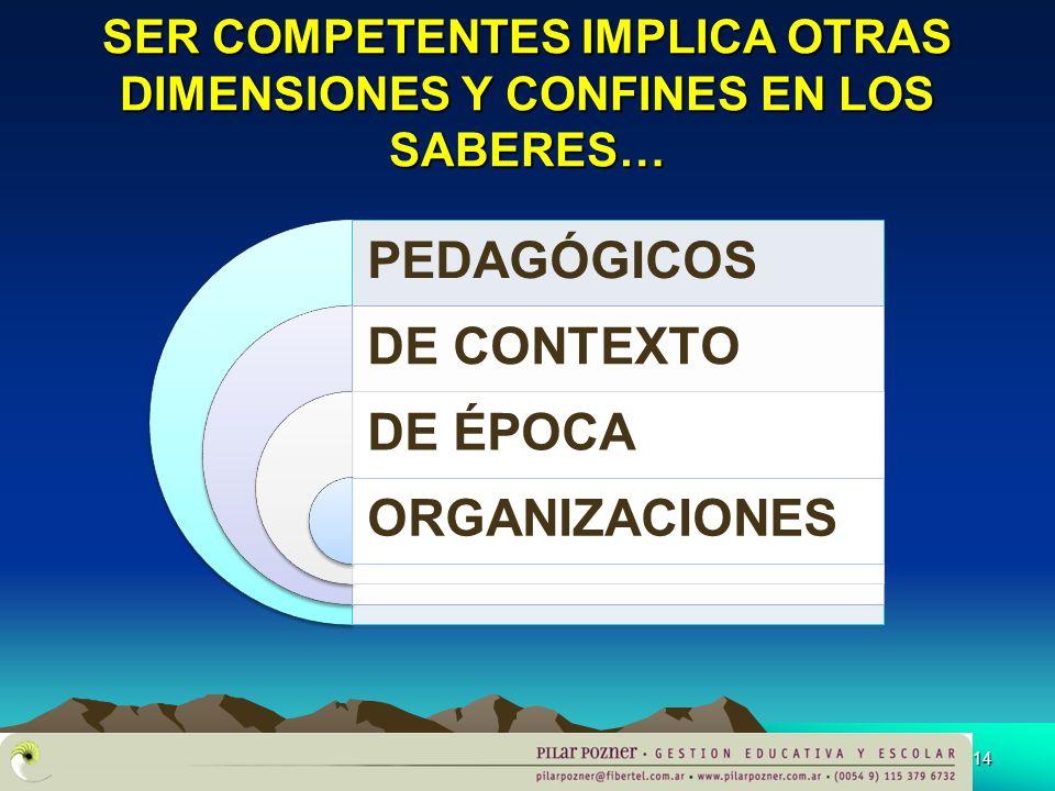 SER COMPETENTES IMPLICA OTRAS DIMENSIONES Y CONFINES EN LOS SABERES…