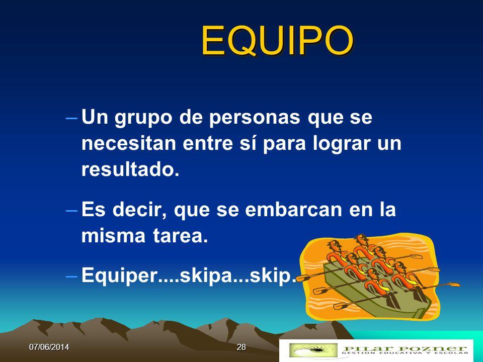 EQUIPO Un grupo de personas que se necesitan entre sí para lograr un resultado. Es decir, que se embarcan en la misma tarea.