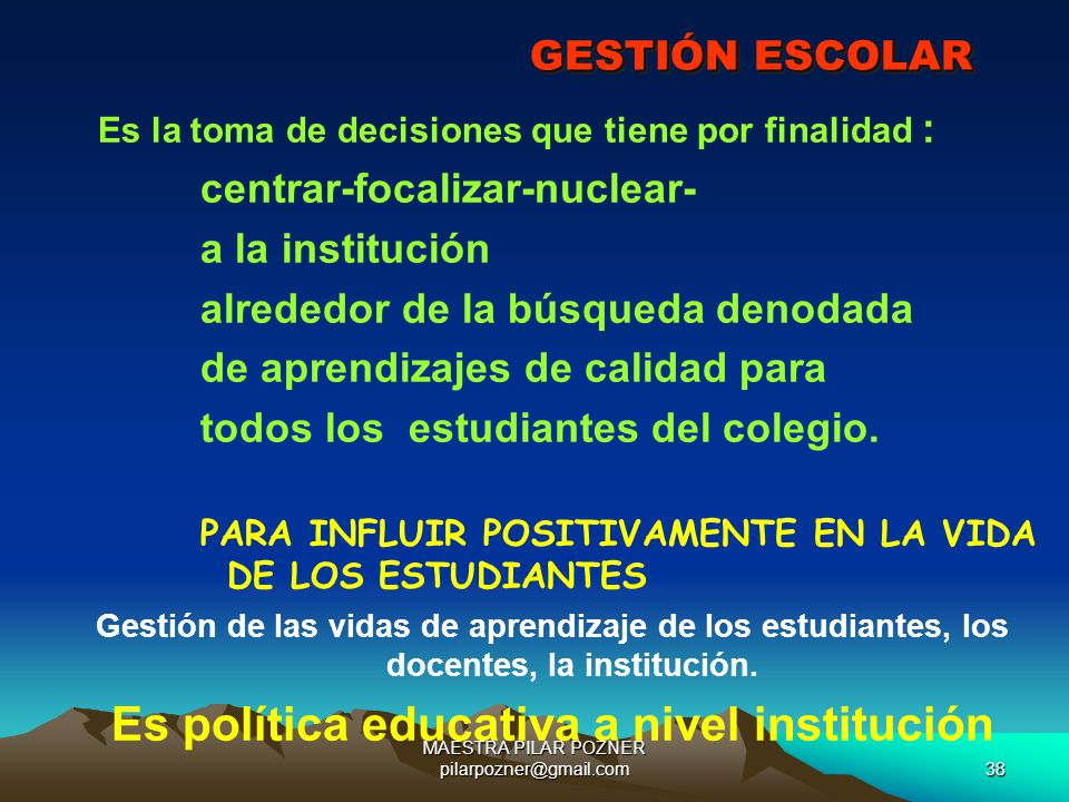 Es política educativa a nivel institución