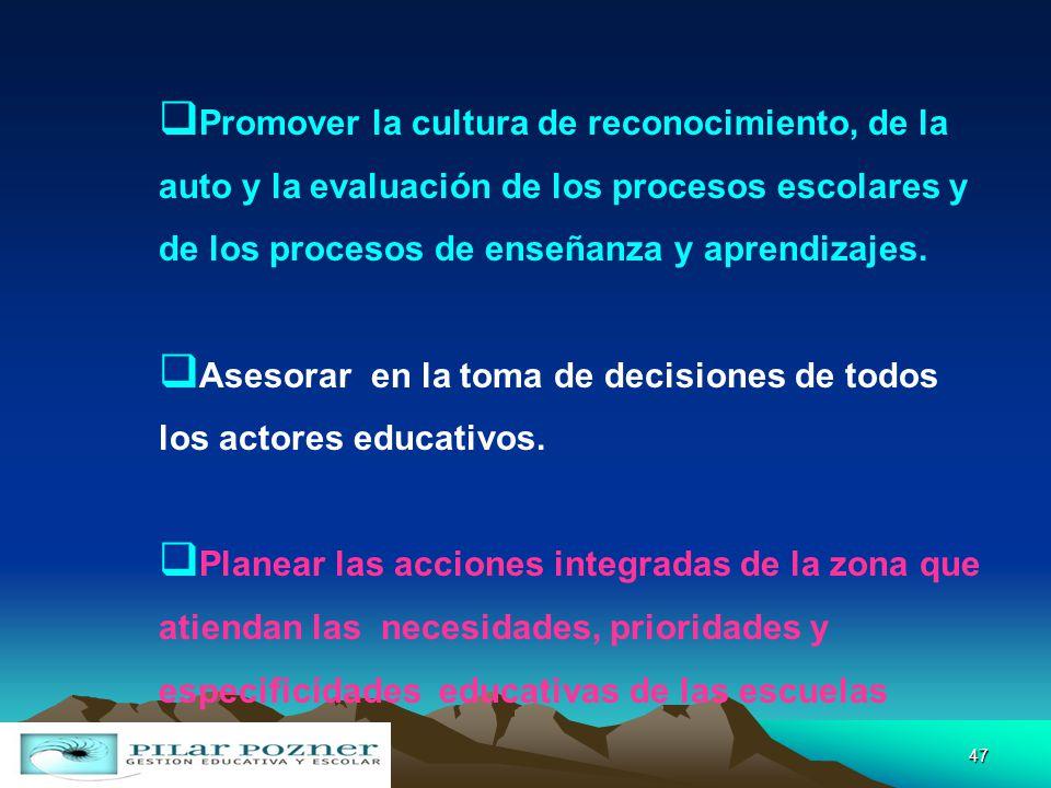 Promover la cultura de reconocimiento, de la auto y la evaluación de los procesos escolares y de los procesos de enseñanza y aprendizajes.