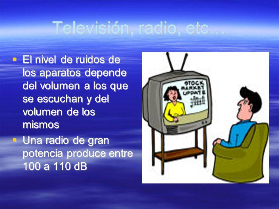 Televisión, radio, etc… El nivel de ruidos de los aparatos depende del volumen a los que se escuchan y del volumen de los mismos.