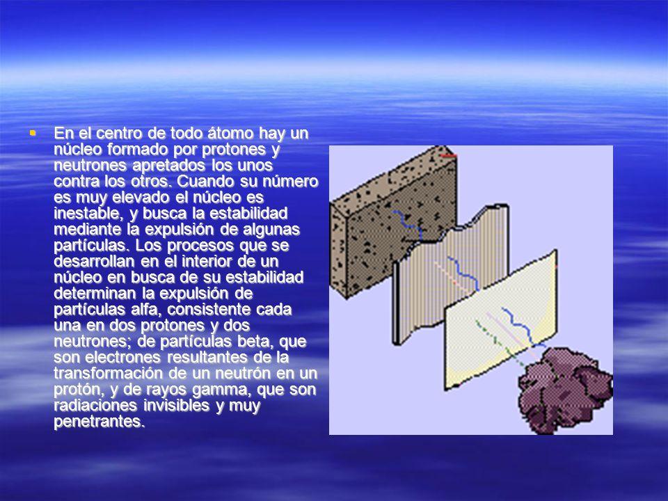 En el centro de todo átomo hay un núcleo formado por protones y neutrones apretados los unos contra los otros.