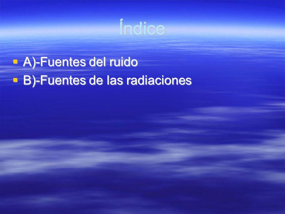 Índice A)-Fuentes del ruido B)-Fuentes de las radiaciones