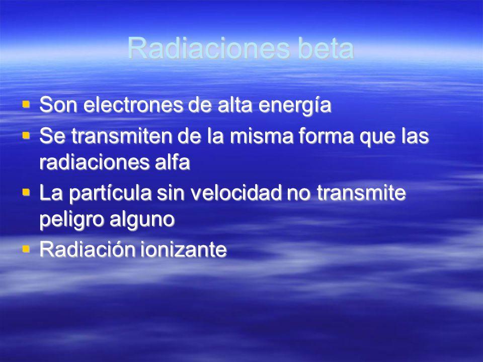 Radiaciones beta Son electrones de alta energía