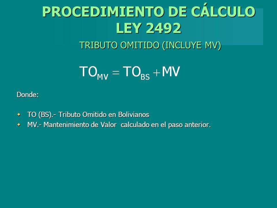 PROCEDIMIENTO DE CÁLCULO LEY 2492 TRIBUTO OMITIDO (INCLUYE MV)