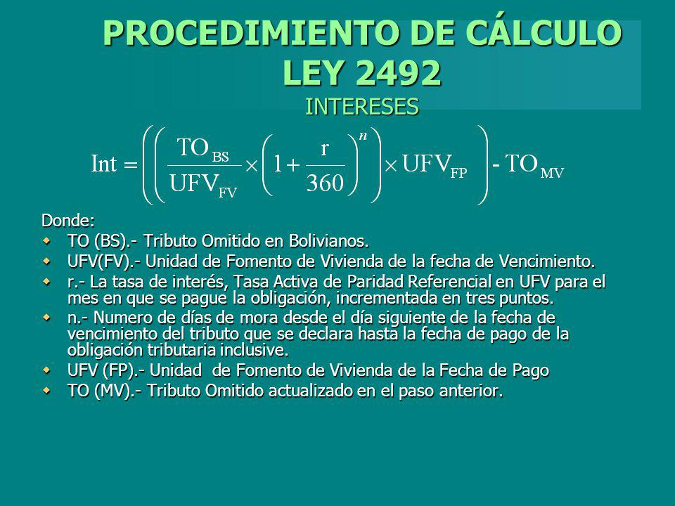PROCEDIMIENTO DE CÁLCULO LEY 2492 INTERESES