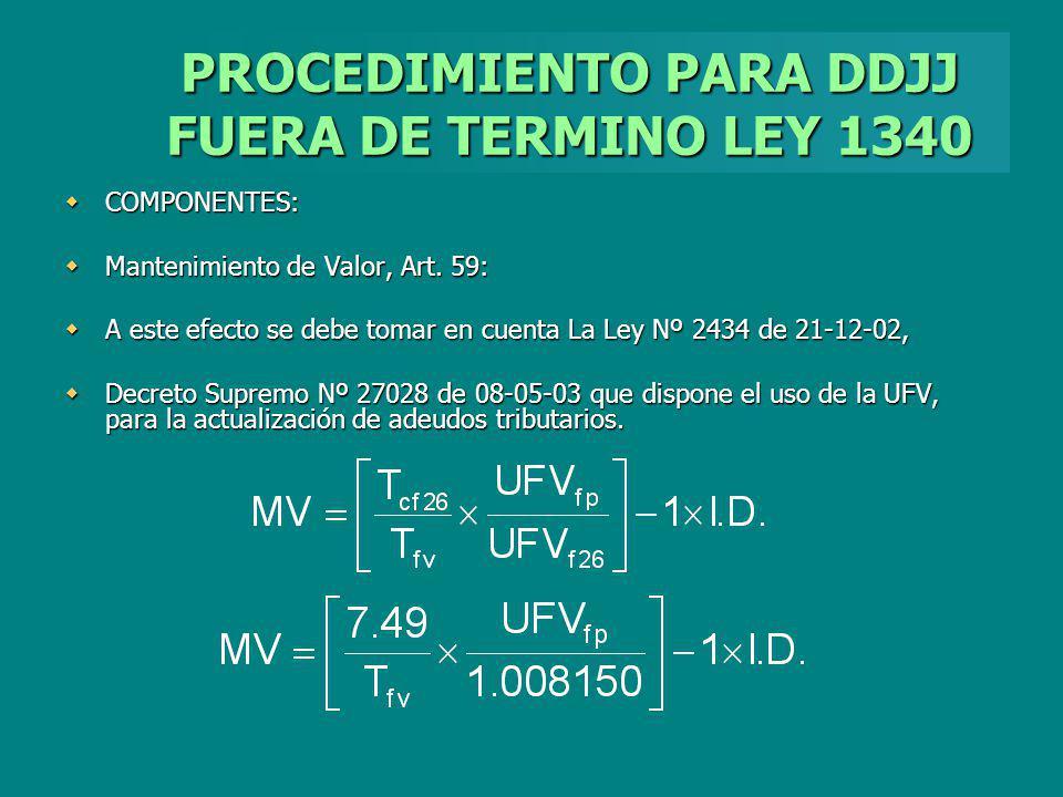 PROCEDIMIENTO PARA DDJJ FUERA DE TERMINO LEY 1340
