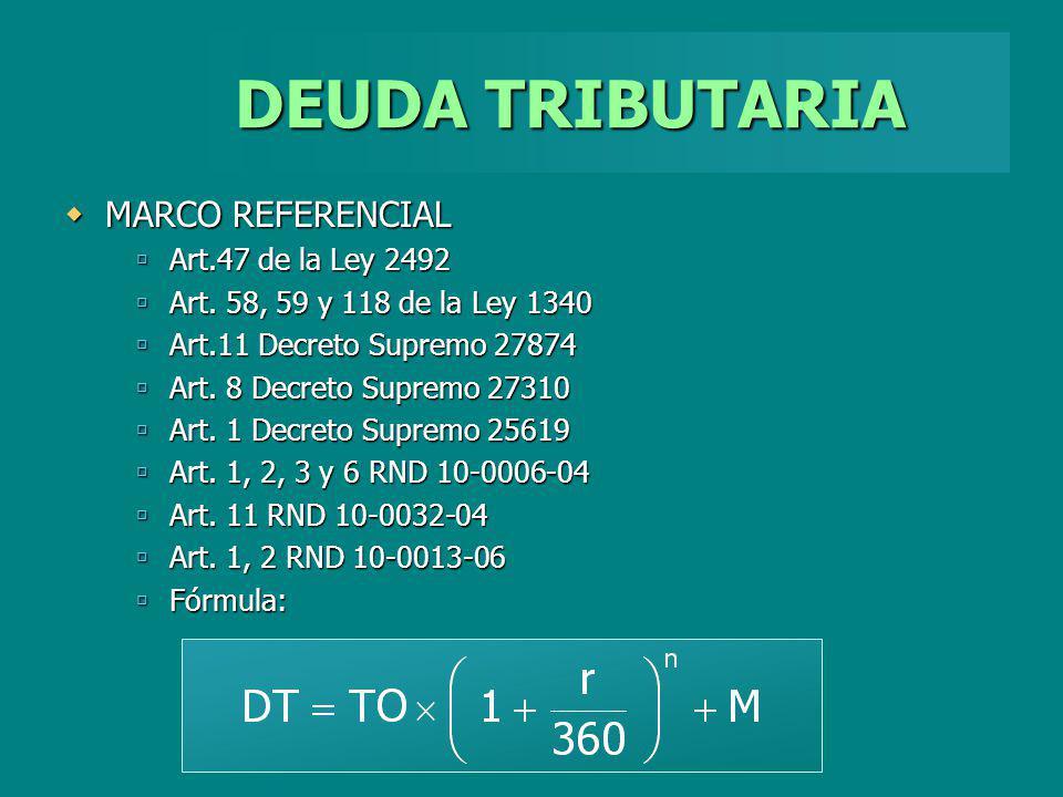 DEUDA TRIBUTARIA MARCO REFERENCIAL Art.47 de la Ley 2492