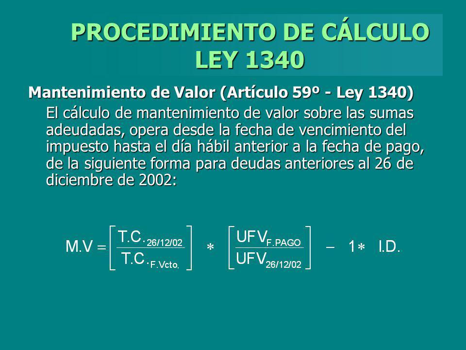 PROCEDIMIENTO DE CÁLCULO LEY 1340
