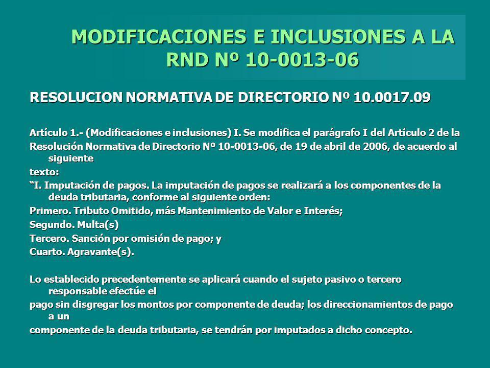 MODIFICACIONES E INCLUSIONES A LA RND Nº 10-0013-06