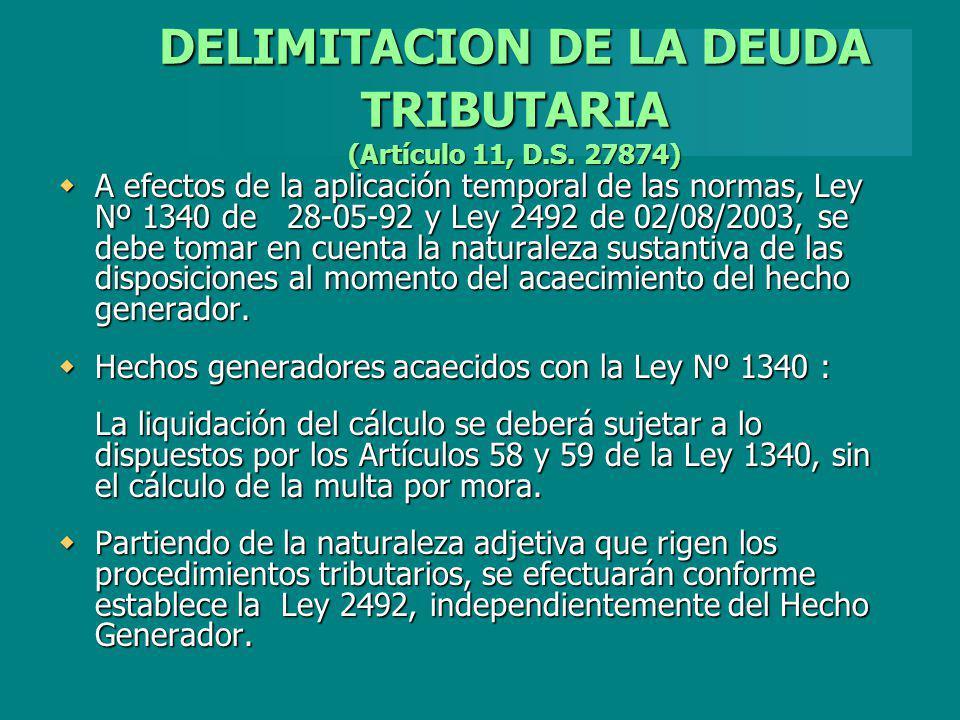 DELIMITACION DE LA DEUDA TRIBUTARIA (Artículo 11, D.S. 27874)