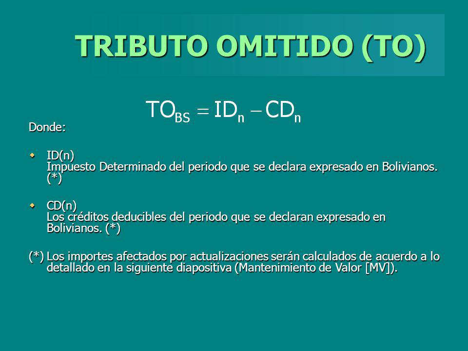 TRIBUTO OMITIDO (TO) Donde: