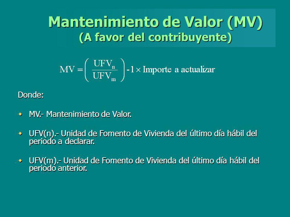 Mantenimiento de Valor (MV) (A favor del contribuyente)
