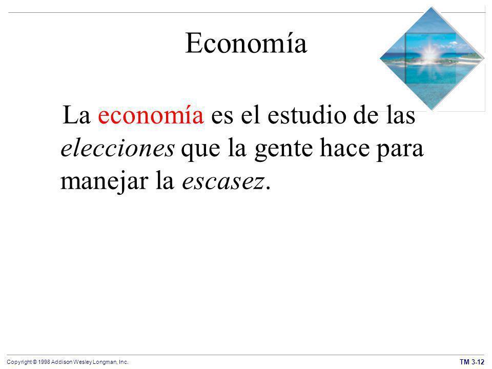 Economía La economía es el estudio de las elecciones que la gente hace para manejar la escasez.