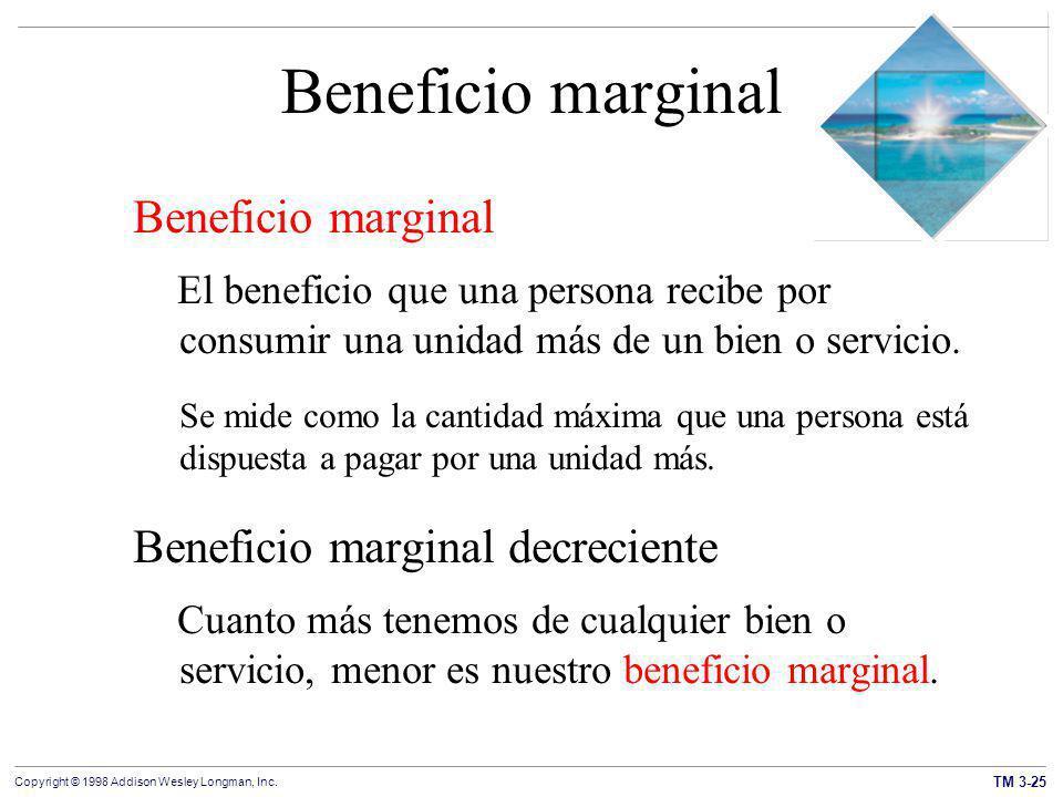 Beneficio marginal Beneficio marginal Beneficio marginal decreciente