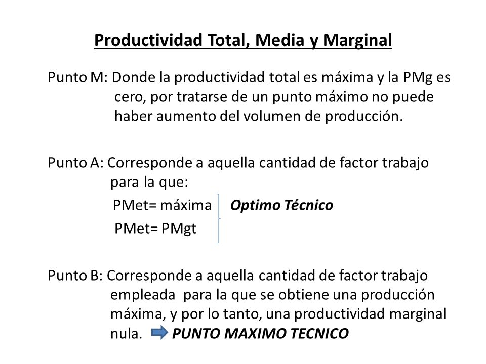 Productividad Total, Media y Marginal