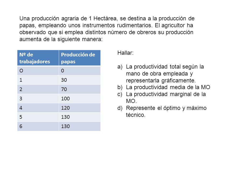 Una producción agraria de 1 Hectárea, se destina a la producción de papas, empleando unos instrumentos rudimentarios. El agricultor ha observado que si emplea distintos número de obreros su producción aumenta de la siguiente manera: