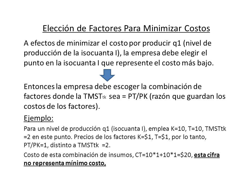 Elección de Factores Para Minimizar Costos