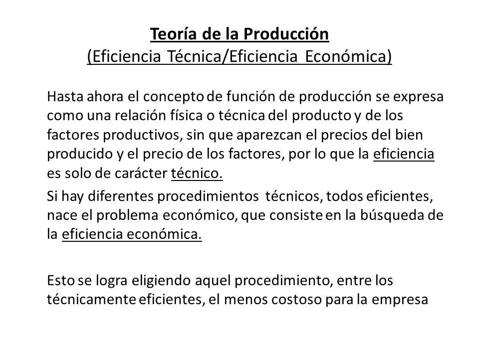 Teoría de la Producción (Eficiencia Técnica/Eficiencia Económica)