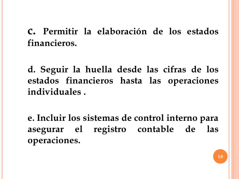 c. Permitir la elaboración de los estados financieros.