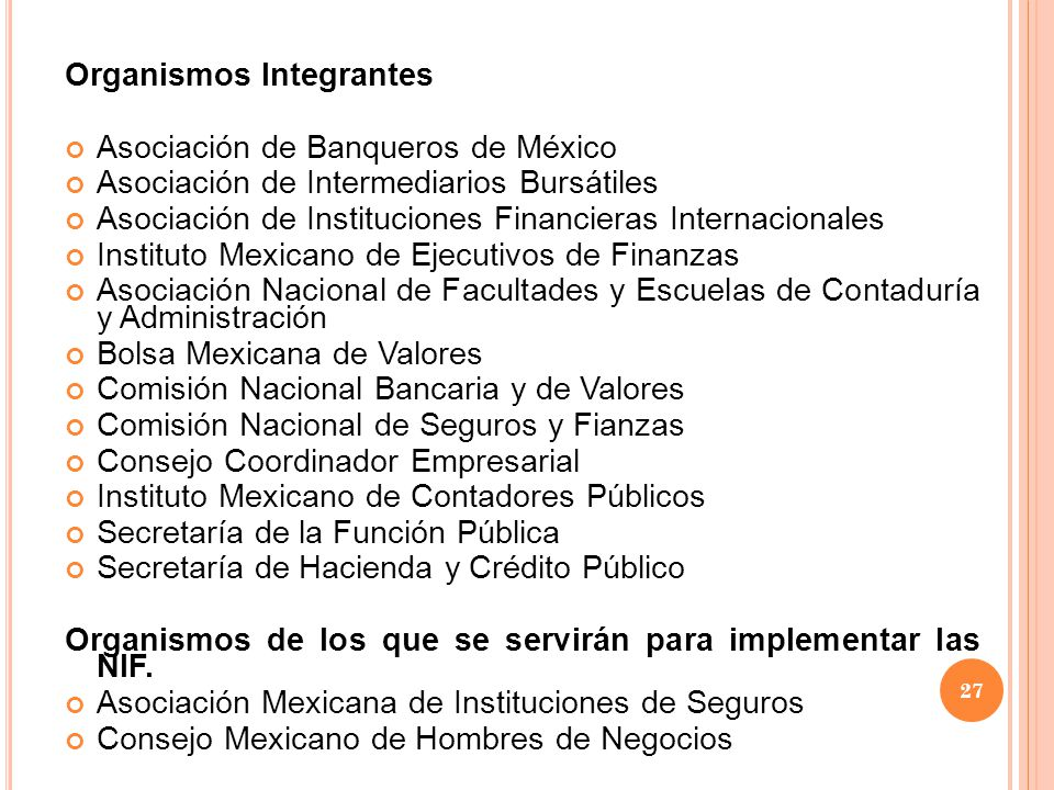 Organismos Integrantes