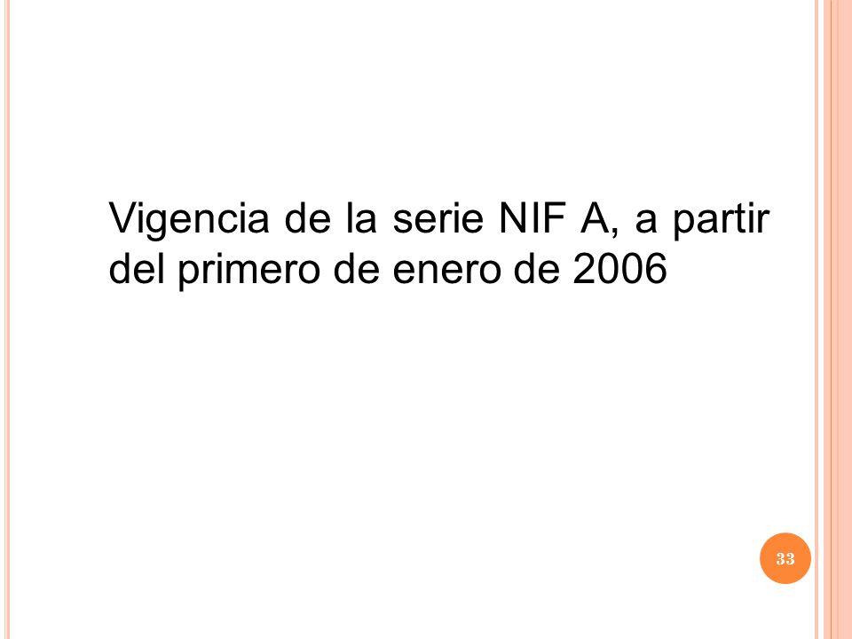 Vigencia de la serie NIF A, a partir del primero de enero de 2006