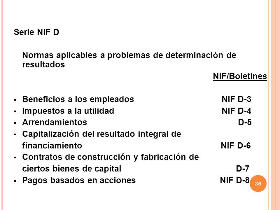 Serie NIF D Normas aplicables a problemas de determinación de resultados. NIF/Boletines. Beneficios a los empleados NIF D-3.