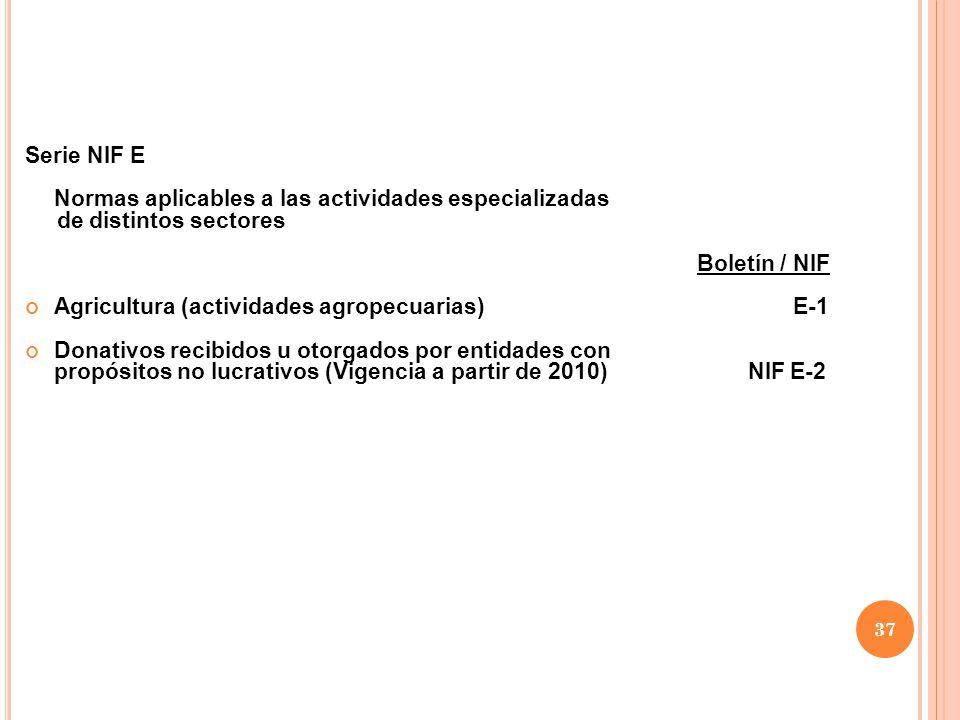 Serie NIF E Normas aplicables a las actividades especializadas. de distintos sectores. Boletín / NIF.