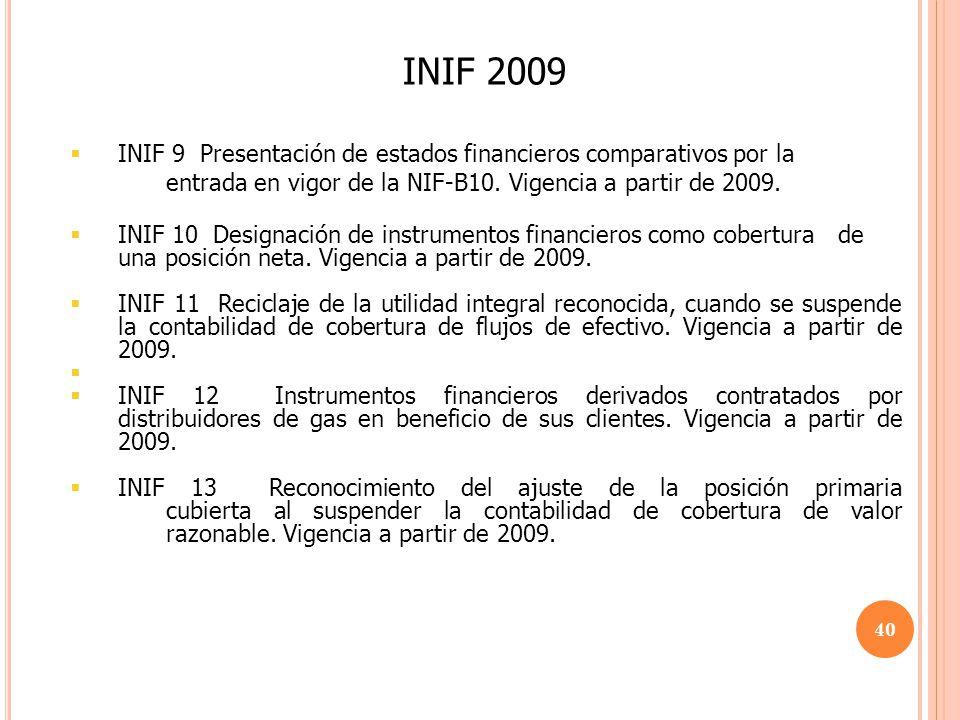 INIF 2009 INIF 9 Presentación de estados financieros comparativos por la entrada en vigor de la NIF-B10. Vigencia a partir de 2009.
