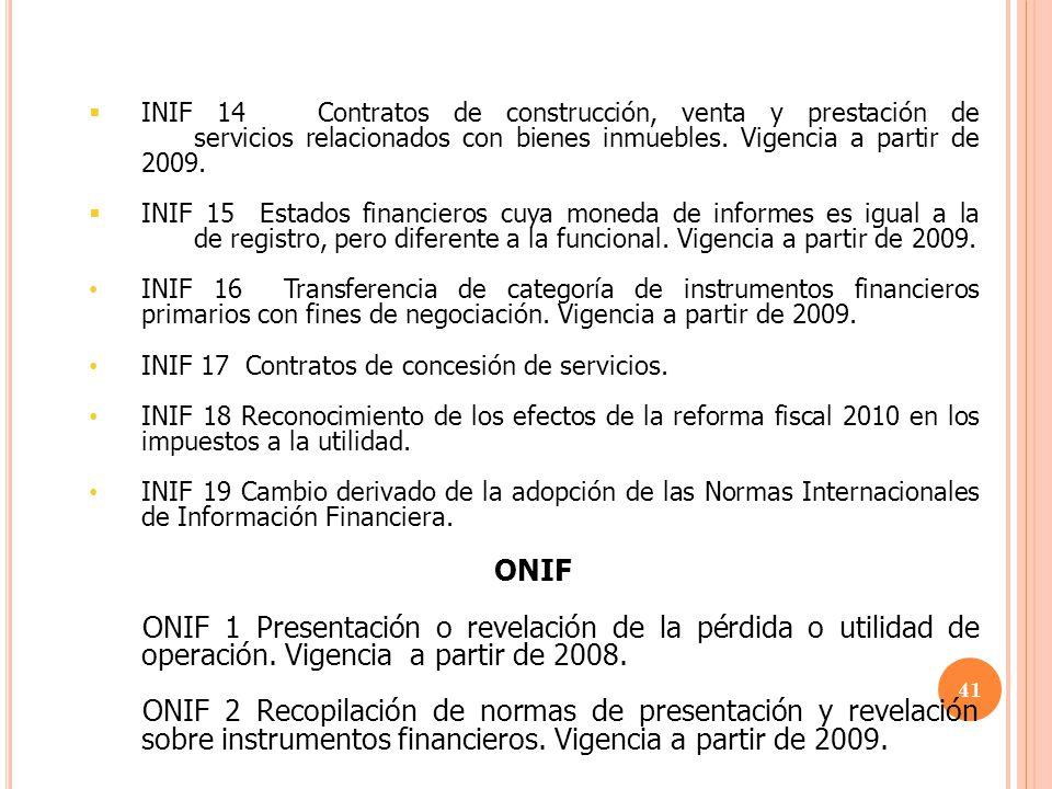 INIF 14 Contratos de construcción, venta y prestación de
