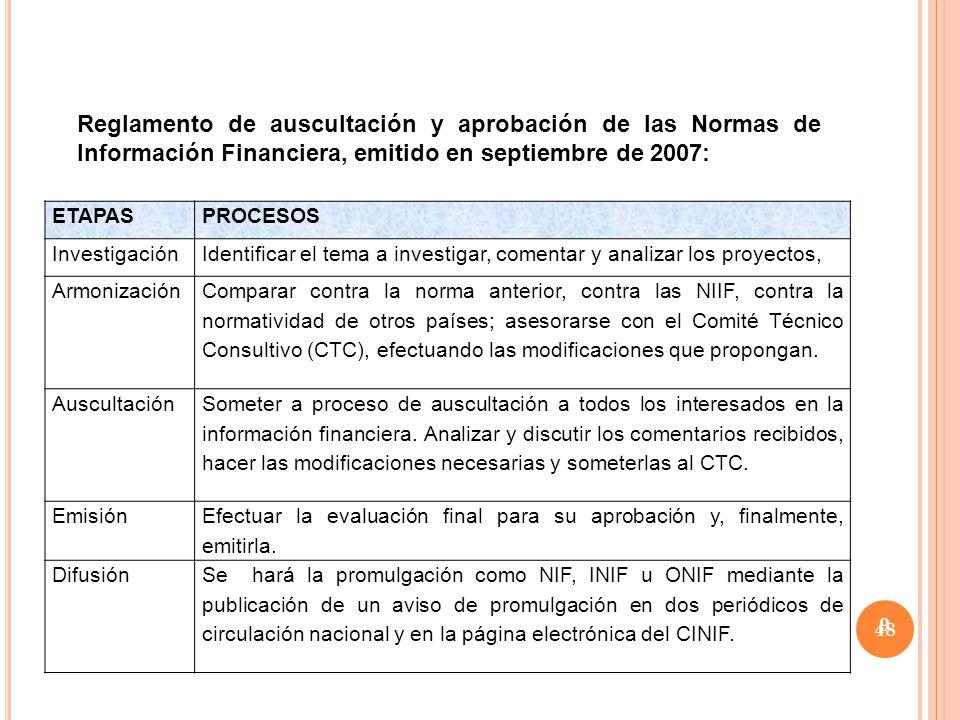 Reglamento de auscultación y aprobación de las Normas de Información Financiera, emitido en septiembre de 2007: