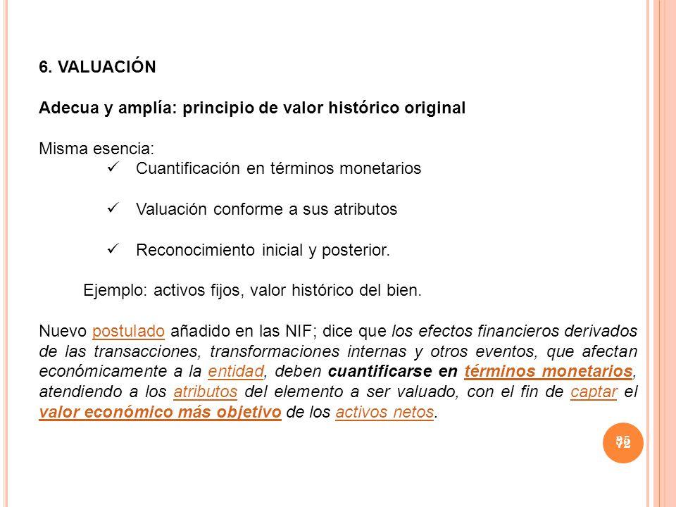 Adecua y amplía: principio de valor histórico original Misma esencia: