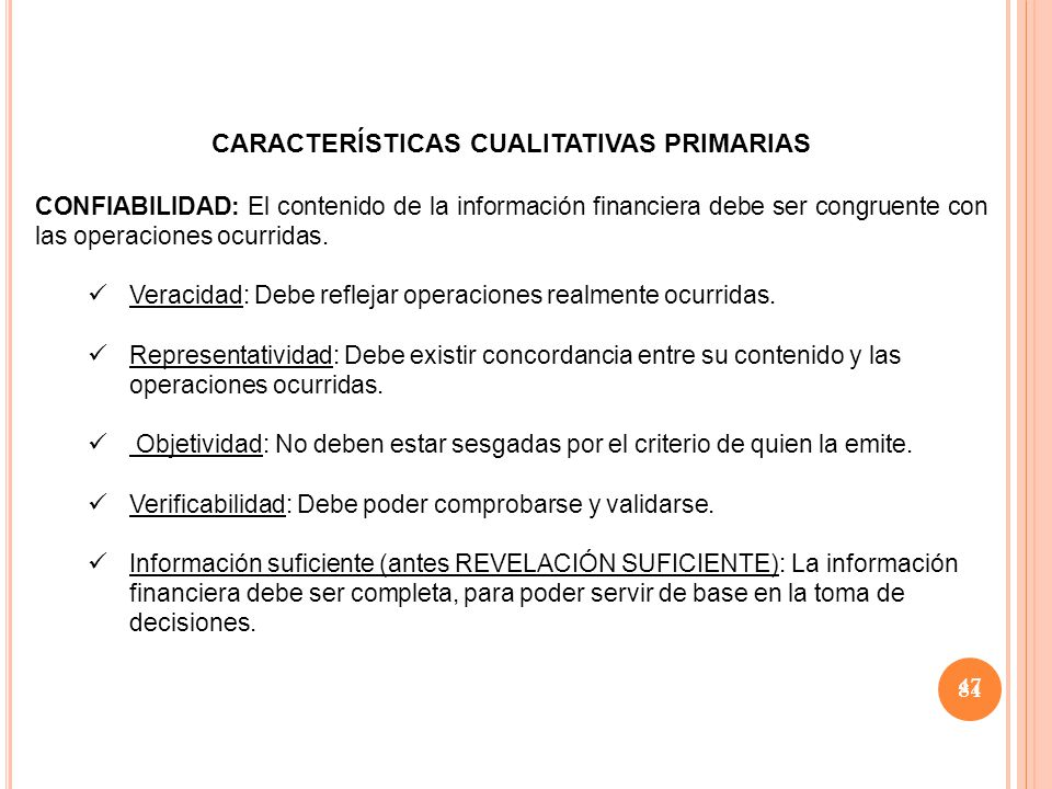 CARACTERÍSTICAS CUALITATIVAS PRIMARIAS