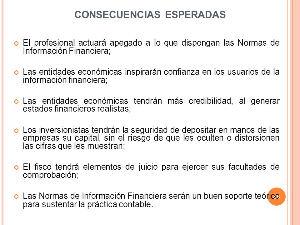 CONSECUENCIAS ESPERADAS
