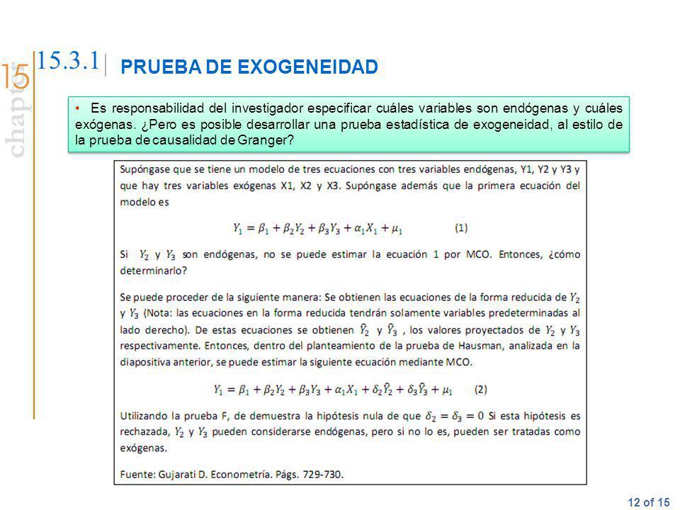 PRUEBA DE EXOGENEIDAD 15.3.1.