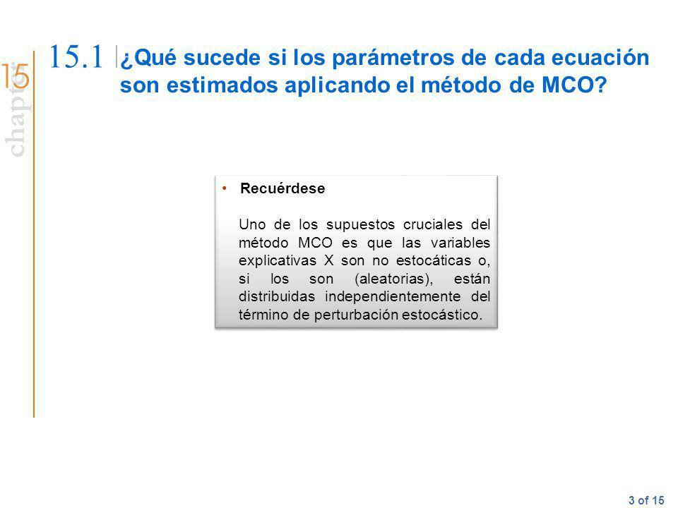 15.1 ¿Qué sucede si los parámetros de cada ecuación son estimados aplicando el método de MCO Recuérdese.
