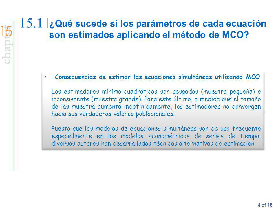 15.1 ¿Qué sucede si los parámetros de cada ecuación son estimados aplicando el método de MCO