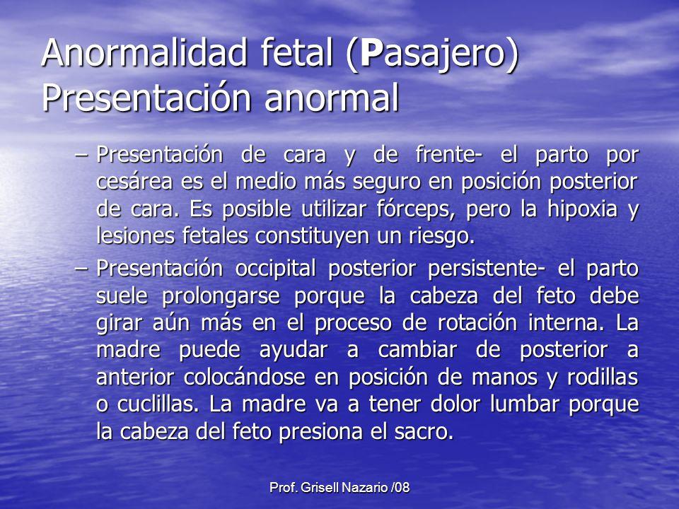Anormalidad fetal (Pasajero) Presentación anormal