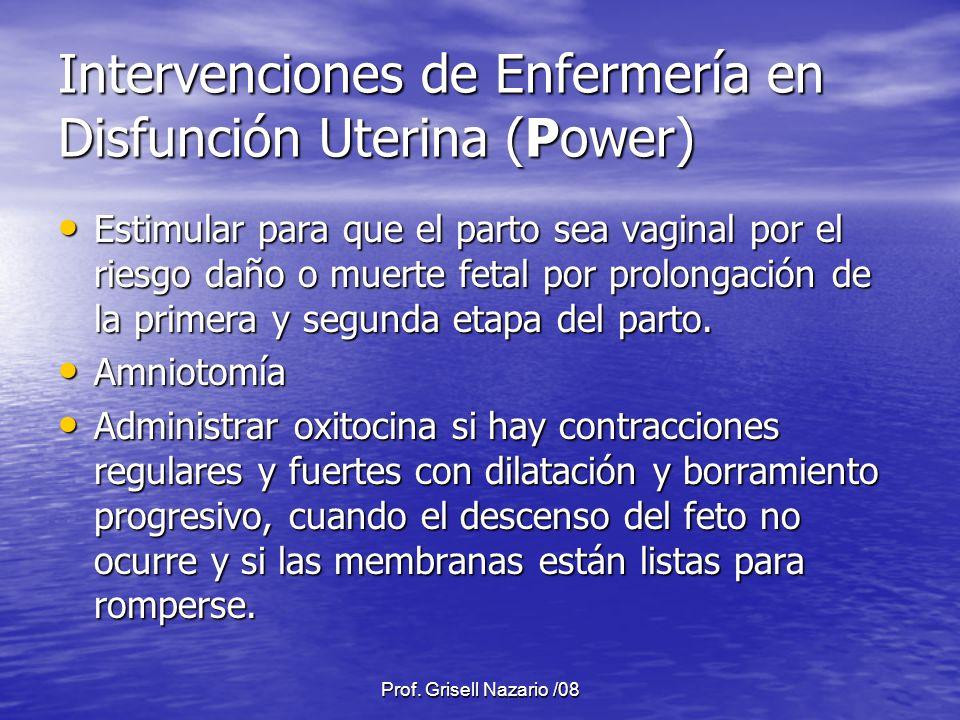 Intervenciones de Enfermería en Disfunción Uterina (Power)