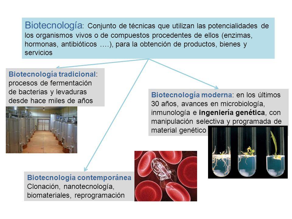 Biotecnología: Conjunto de técnicas que utilizan las potencialidades de los organismos vivos o de compuestos procedentes de ellos (enzimas, hormonas, antibióticos ….), para la obtención de productos, bienes y servicios