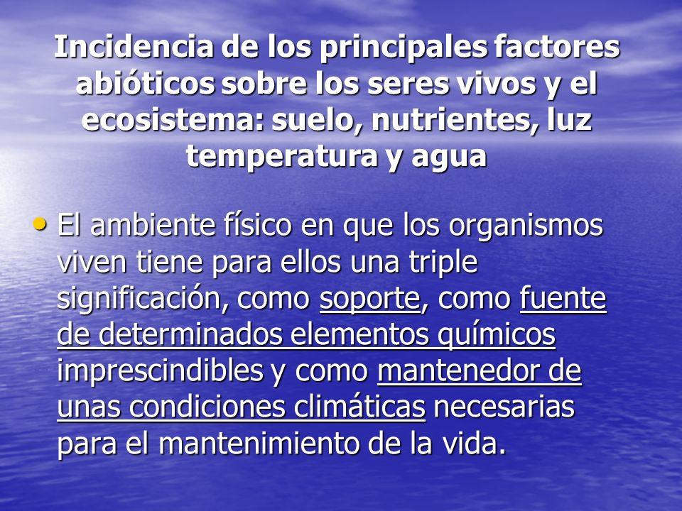 Incidencia de los principales factores abióticos sobre los seres vivos y el ecosistema: suelo, nutrientes, luz temperatura y agua