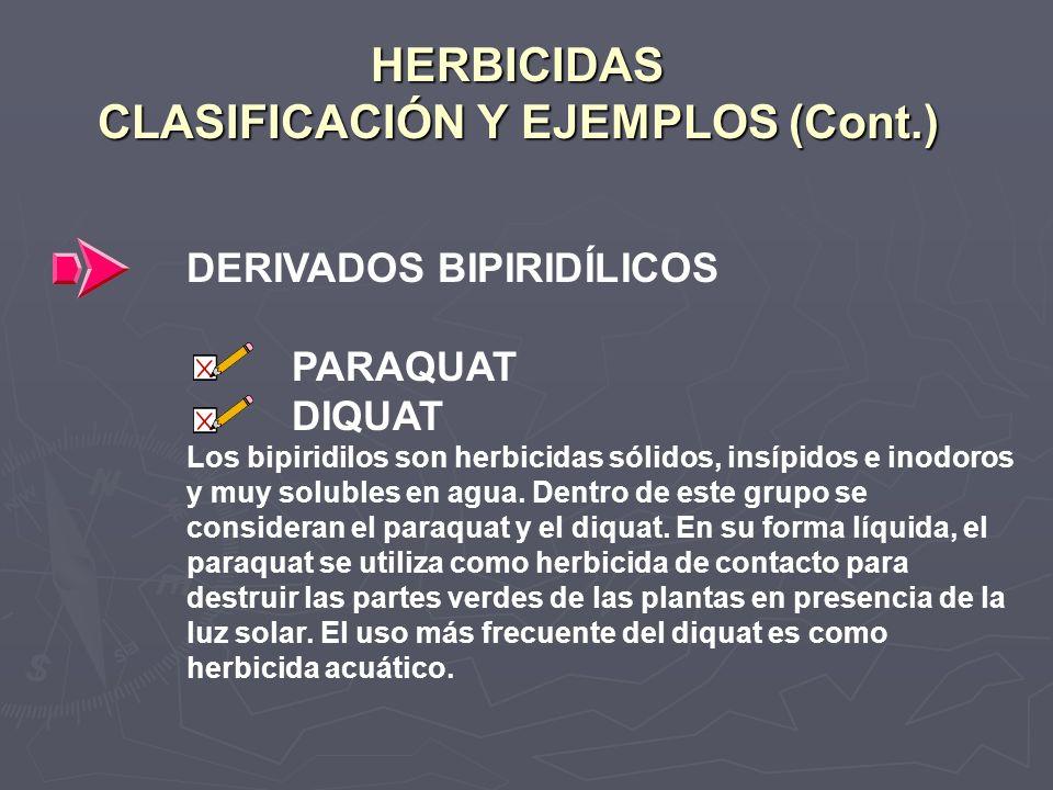 HERBICIDAS CLASIFICACIÓN Y EJEMPLOS (Cont.)