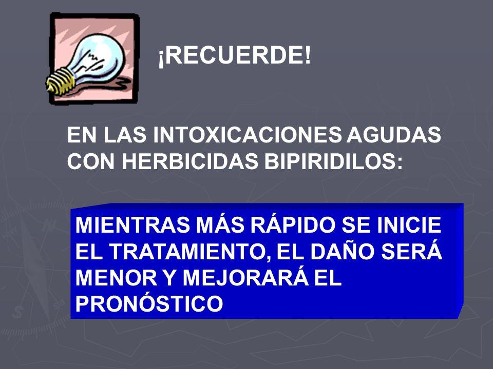 ¡RECUERDE! EN LAS INTOXICACIONES AGUDAS CON HERBICIDAS BIPIRIDILOS:
