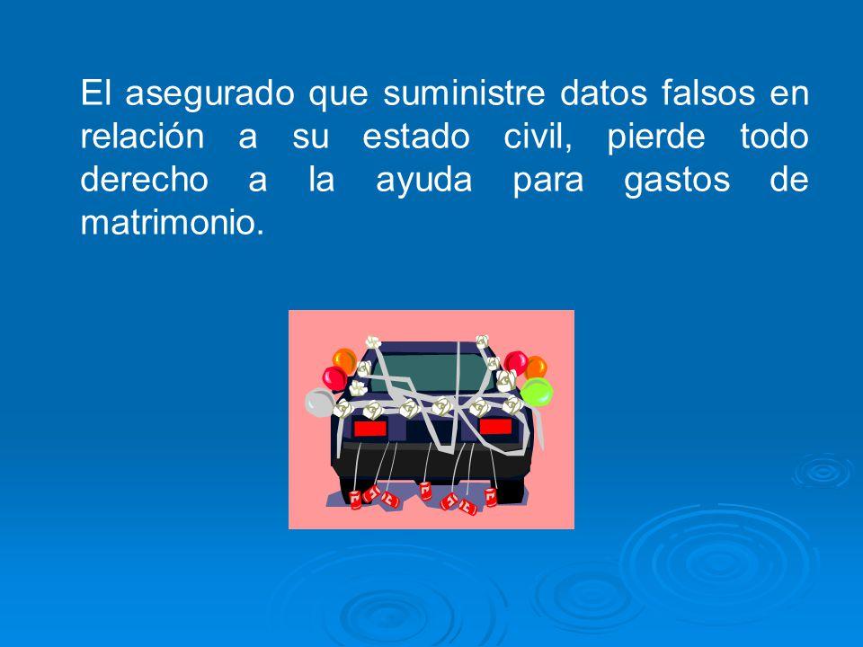 El asegurado que suministre datos falsos en relación a su estado civil, pierde todo derecho a la ayuda para gastos de matrimonio.