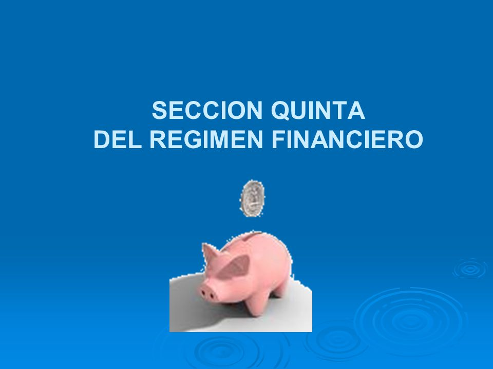 DEL REGIMEN FINANCIERO