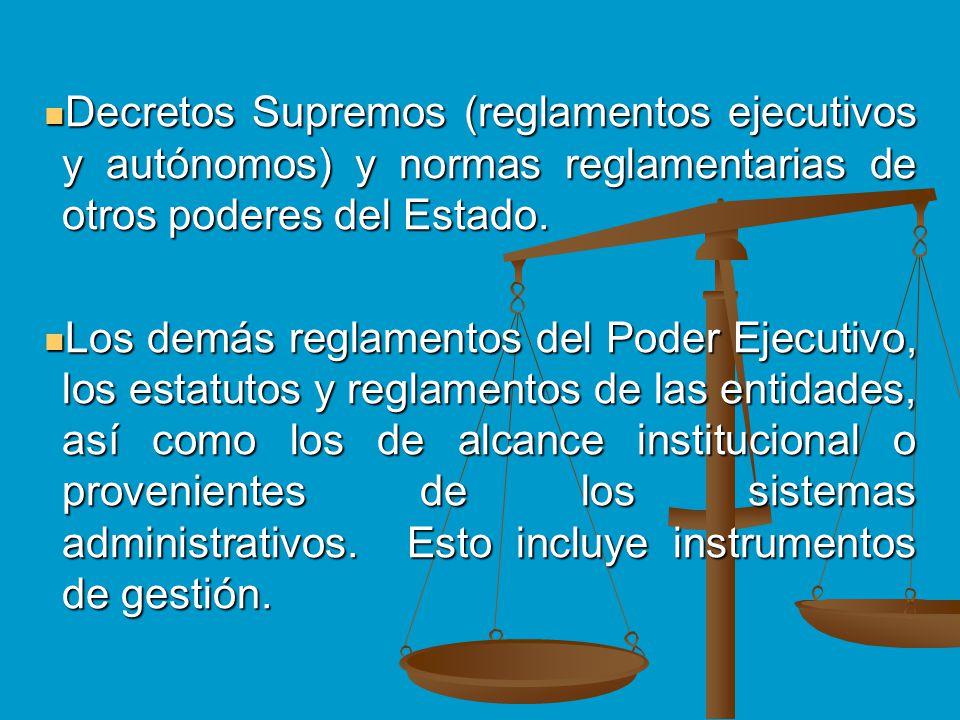 Decretos Supremos (reglamentos ejecutivos y autónomos) y normas reglamentarias de otros poderes del Estado.
