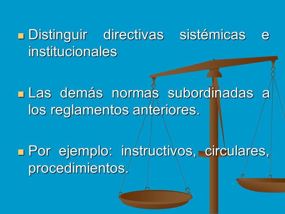 Distinguir directivas sistémicas e institucionales