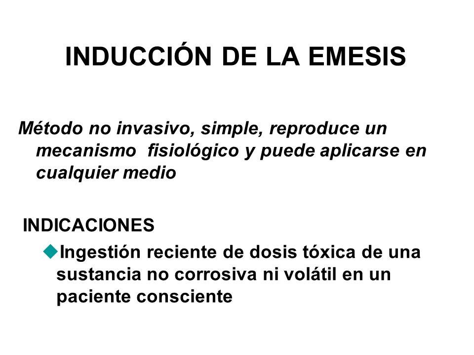 INDUCCIÓN DE LA EMESIS Método no invasivo, simple, reproduce un mecanismo fisiológico y puede aplicarse en cualquier medio.